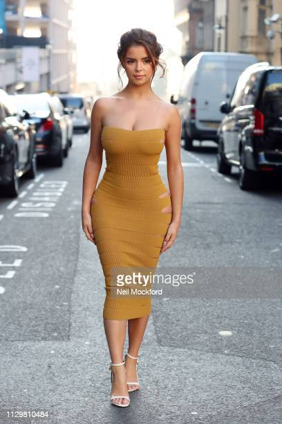Demi Rose attends Mark Fast runway show at BFC Show Space during LFW February 2019 on February 15 2019 in London England