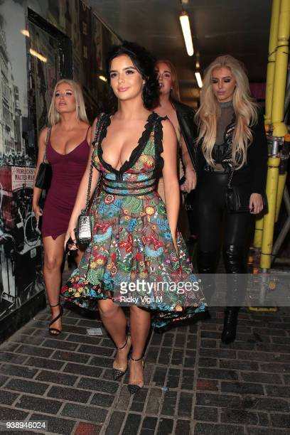 Demi Rose celebrates her 23rd birthday with friends at Ciro's Pizza Pomodoro on March 27 2018 in London England