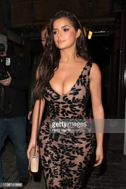 Demi Rose celebrates her birthday with friends at The Box in Soho after dinner at Ciro's Pizza Pomodoro on March 27 2019 in London England