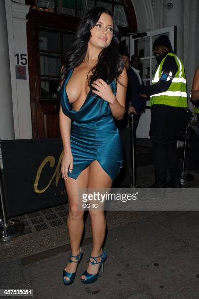Demi Rose Mawby leaving Charlie nightclub Mayfair on March 24 2017 in London England