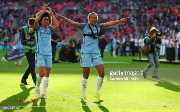 Demi Stokes and Nikita Parris of Manchester City Women celebrate during the SSE Women's FA Cup Final between Birmingham City Ladies and Manchester...
