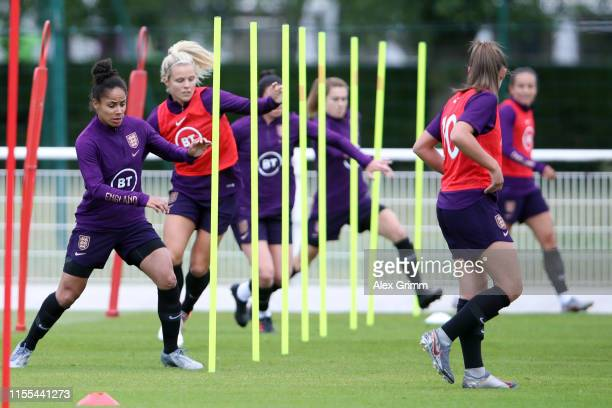 Demi Stokes and team mates exercise during an England training session during the 2019 FIFA Women's World Cup France at Stade du Commandant Hebert on...