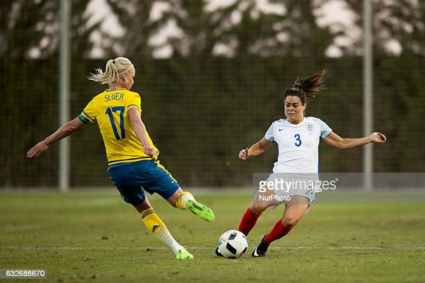 Demi Stokes Claire Rafferty during the preseason friendly match between national women's Sweden vs England in Pinatar Arena San Pedro del Pinatar...