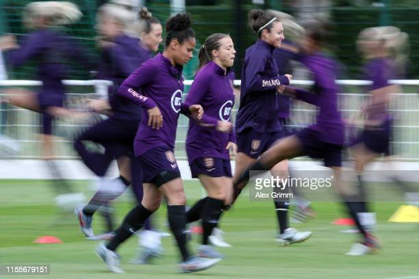 Demi Stokes Fran Kirby and Jodie Taylor run during an England training session during the 2019 FIFA Women's World Cup France at Stade Commandante...