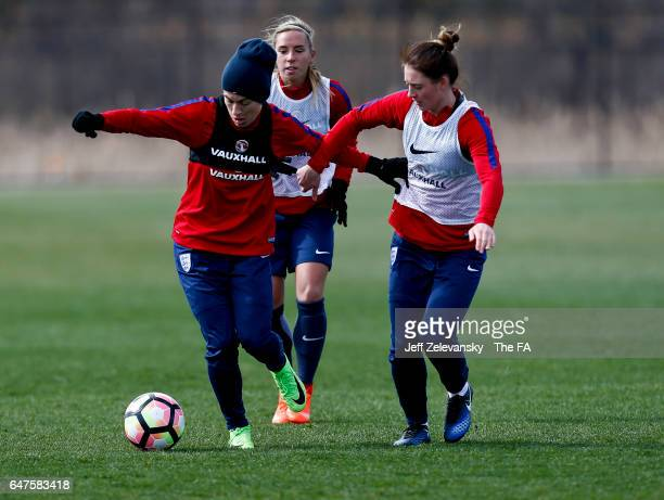 Demi Stokes, Jordan Nobbs and Jade Moore of England rung during training at the Red Bull Training Complex on March 3, 2017 in Whippany, New Jersey.