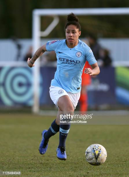 Demi Stokes of City of Manchester City during the SSE Women's FA Cup match between Tottenham Hotspur Ladies and Manchester City Women on February 17...