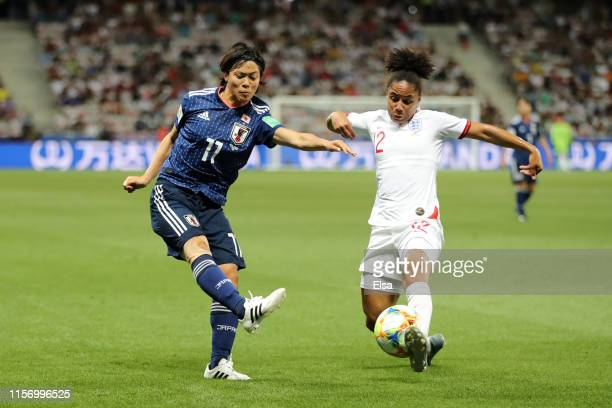 Demi Stokes of England blocks a pass from Rikako Kobayashi of Japan during the 2019 FIFA Women's World Cup France group D match between Japan and...