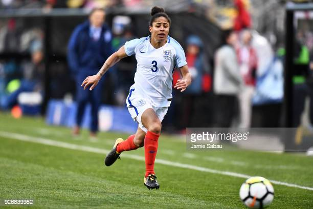 Demi Stokes of England controls the ball against France on March 1 2018 at MAPFRE Stadium in Columbus Ohio England defeated France 41