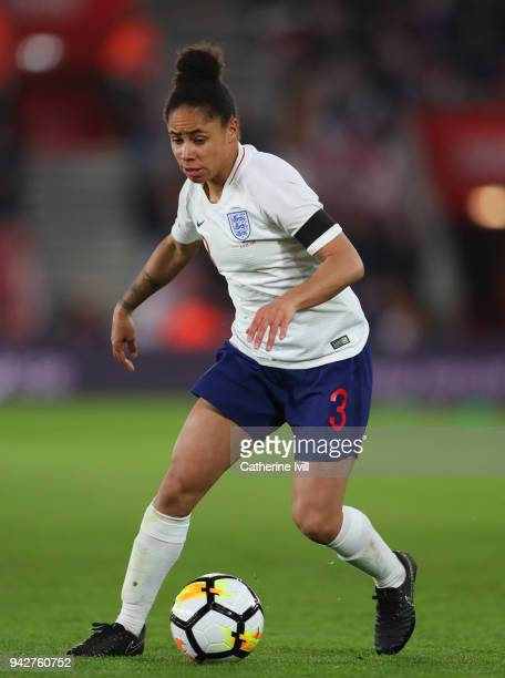 Demi Stokes of England during the Women's World Cup Qualifier between England and Wales at St Mary's Stadium on April 6 2018 in Southampton England