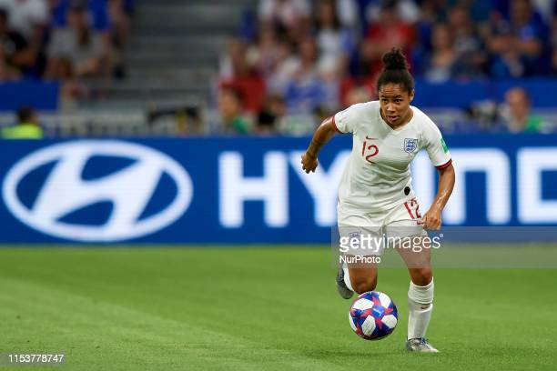 Demi Stokes of England in action during the 2019 FIFA Women's World Cup France Semi Final match between England and USA at Stade de Lyon on July 2...