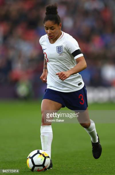 Demi Stokes of England in action during the Women's World Cup Qualifier between England and Wales at St Mary's Stadium on April 6 2018 in Southampton...