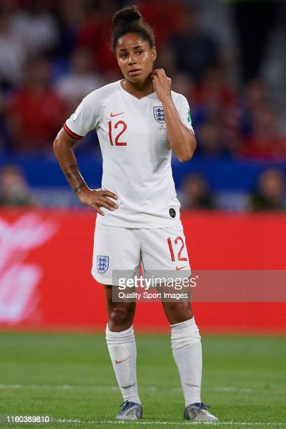 Demi Stokes of England looks on during the 2019 FIFA Women's World Cup France Semi Final match between England and USA at Stade de Lyon on July 02...