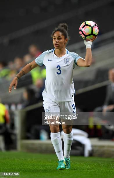 Demi Stokes of England prepares to take a throw in during the Women's International Friendly match between England and Austria at Stadium mk on April...