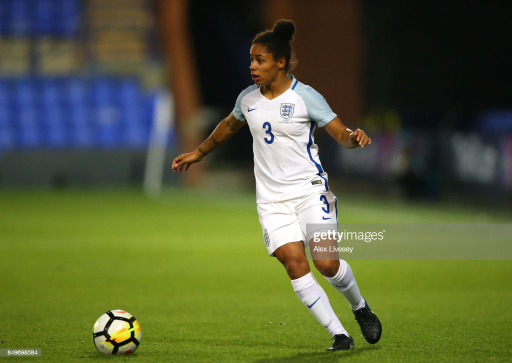 Demi Stokes of England runs with the ball during the FIFA Women's World Cup Qualifier between England and Russia at Prenton Park on September 19, 2017 in Birkenhead, England.