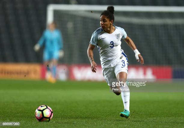 Demi Stokes of England Women in action during the International Friendly match between England Women and Austria Women at Stadium mk on April 10 2017...