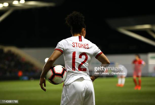 Demi Stokes of England Women takes a throw in during the International Friendly between England Women and Canada Women at The Academy Stadium on...