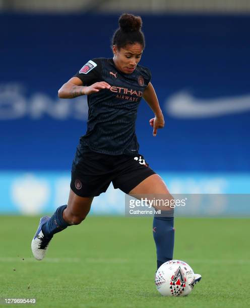Demi Stokes of Manchester City during the Barclays FA Women's Super League match between Chelsea Women and Manchester City Women at Kingsmeadow on...