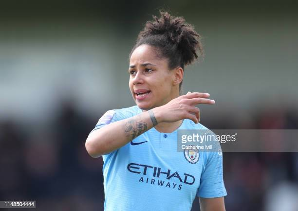 Demi Stokes of Manchester City during the WSL match between Arsenal Women and Manchester City at Meadow Park on May 11 2019 in Borehamwood England