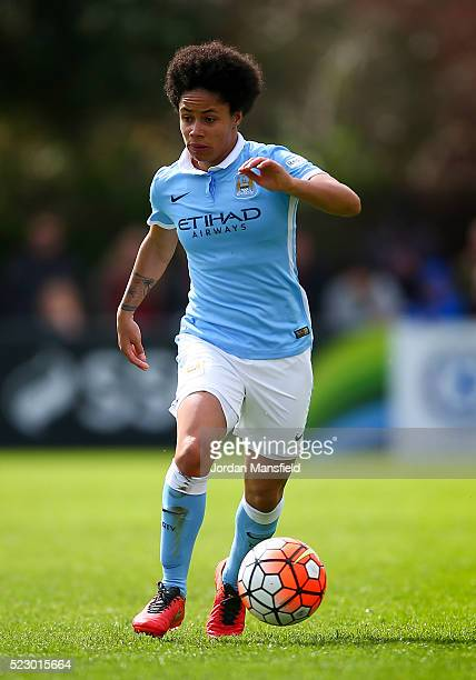 Demi Stokes of Manchester City in action during the SSE Women's FA Cup Semifinal match between Chelsea Ladies FC v Manchester City Women at...