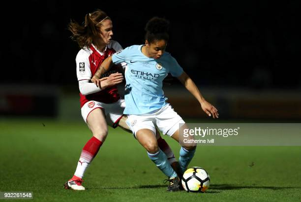 Demi Stokes of Manchester City is challenged by Heather O'Reilly of Arsenal during the WSL Continental Cup Final between Arsenal Women and Manchester...