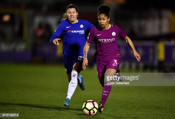Demi Stokes of Manchester City Ladies and Ramona Bachmann of Chelsea Ladies during the WSL match between Chelsea Ladies and Manchester City Ladies at...