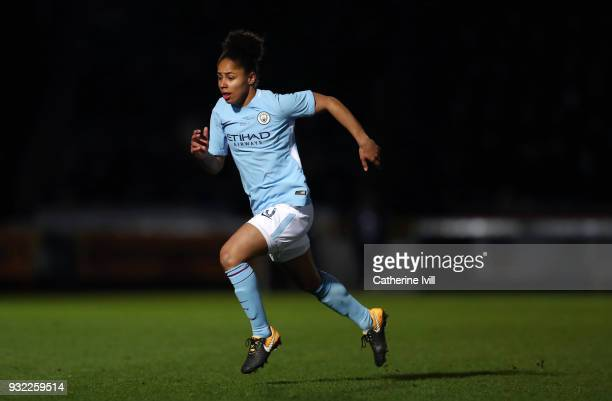 Demi Stokes of Manchester City Ladies during the WSL Continental Cup Final between Arsenal Women and Manchester City Ladies at Adams Park on March 14...