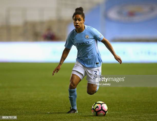 Demi Stokes of Manchester City Ladies runs with the ball during the UEFA Women's Champions League match between Manchester City Ladies and St Polten...