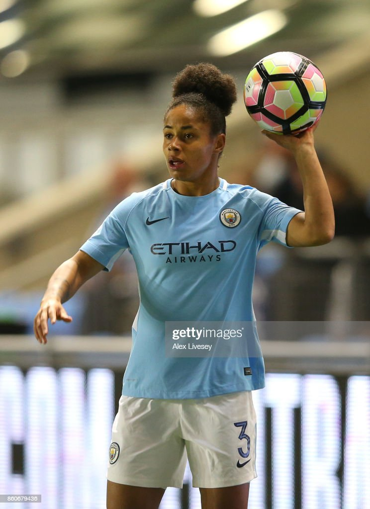 Demi Stokes of Manchester City Ladies takes a throw in during the UEFA Women's Champions League match between Manchester City Ladies and St. Polten Ladies at Manchester City Football Academy on October 12, 2017 in Manchester, England.
