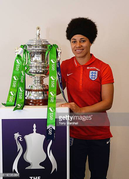 Demi Stokes of Manchester City poses with the SSE Women's FA Cup during the England Women Training Session at St Georges Park on April 5 2016 in...