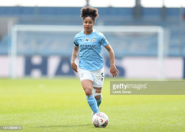 Demi Stokes of Manchester City runs with the ball during the Vitality Women's FA Cup Fourth Round match between Manchester City Women and Aston Villa...