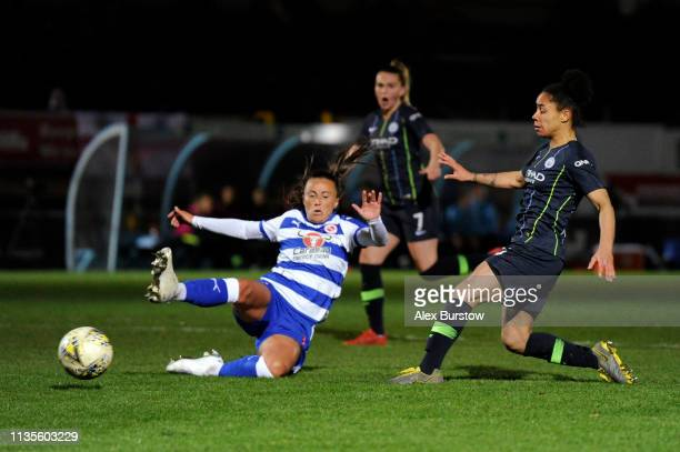 Demi Stokes of Manchester City scores her team's fourth goal during the FA Women's Super League match between Reading Women and Manchester City Women...