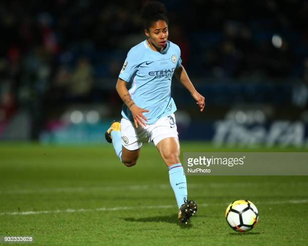 Demi Stokes of Manchester City WFC during The FA WSL Continental Tyres Cup Final match between Arsenal against Manchester City Women at Adams Park...
