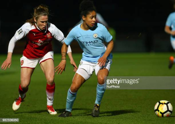 Demi Stokes of Manchester City WFC holds of Emma Mitchell of Arsenal during The FA WSL Continental Tyres Cup Final match between Arsenal against...