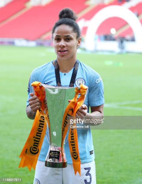 Demi Stokes of Manchester City with the trophy after the FA Women's Continental League Cup Final between Arsenal Women and Manchester City Women at...