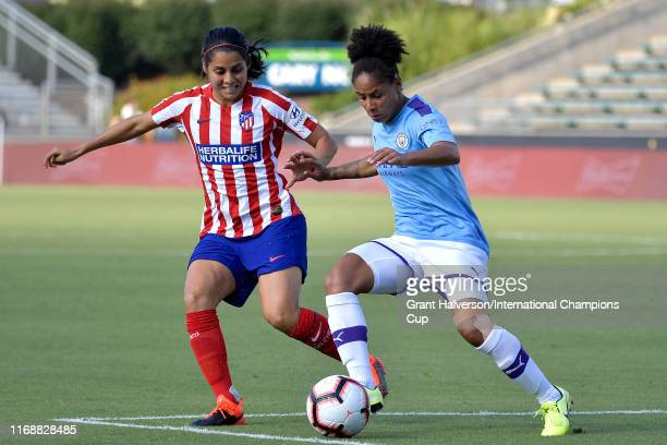 Demi Stokes of Manchester City Women and Kenti Robles of Atletico de Madrid battle for the ball during the International Champions Cup third place...
