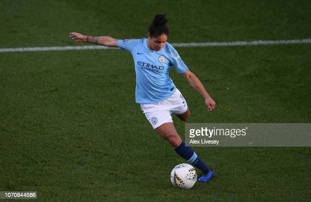 Demi Stokes of Manchester City Women during the FA WSL match between Manchester City Women and Birmingham City Women at The Academy Stadium on...