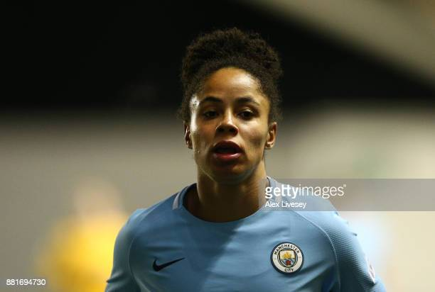 Demi Stokes of Manchester City Women during the UEFA Women's Champions League match between Manchester City Women and LSK Kvinner at The Academy...