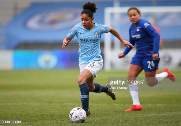 Demi Stokes of Manchester City Women during the Women's FA Cup Semi Final match between Manchester City Women and Chelsea Ladies at The Academy...
