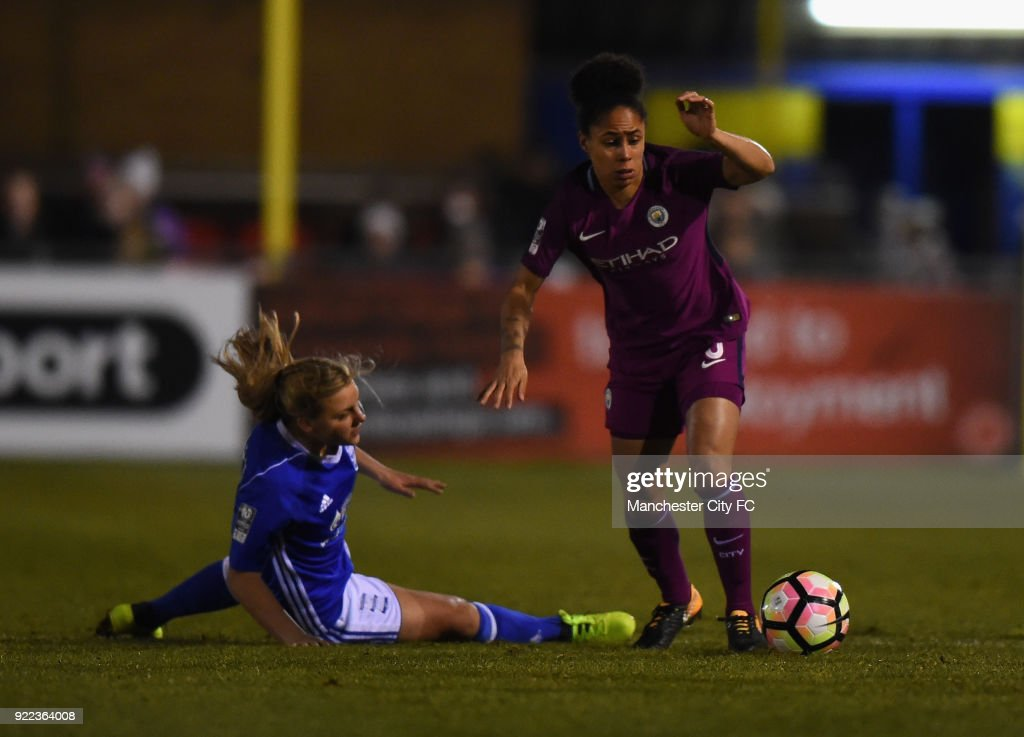 Demi Stokes of Manchester City Women pushes forward during the WSL match between Birmingham City Ladies and Manchester City Women at Damson Park on February 21, 2018 in Solihull, England.