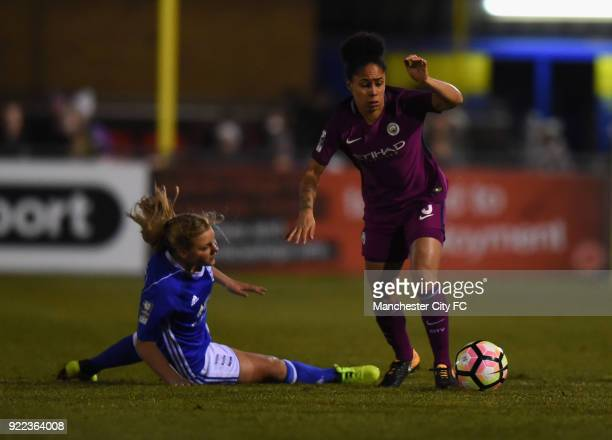 Demi Stokes of Manchester City Women pushes forward during the WSL match between Birmingham City Ladies and Manchester City Women at Damson Park on...