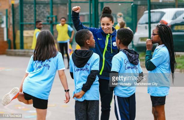 Demi Stokes of Manchester City Women takes part in a City in the Community football session at St Patrick's R.C. Primary School on March 21, 2019 in...