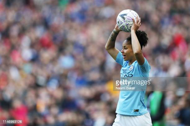Demi Stokes of Manchester City Women throws the ball during the Women's FA Cup Final match between Manchester City Women and West Ham United Ladies...