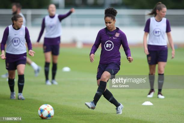 Demi Stokes passes the ball during an England training session during the 2019 FIFA Women's World Cup France at Stade Commandante Hebert on June 13...