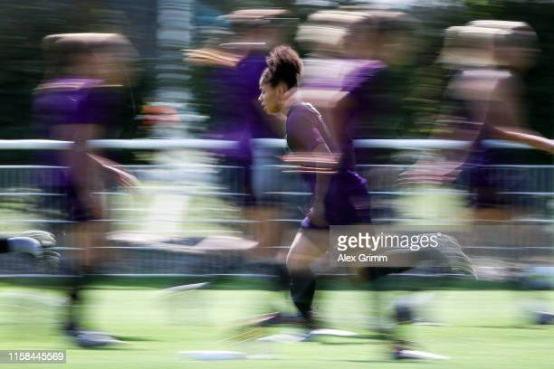 Demi Stokes runs during an England training session at Parc des Loisirs during the FIFA Women's World Cup France 2019 on June 26 2019 in Touques...