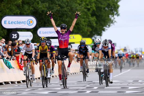 Demi Vollering of Netherlands and Team SD Worx stage winner celebrates at arrival, Cecilie Uttrup Ludwig of Denmark and Team FDJ Nouvelle - Aquitaine...