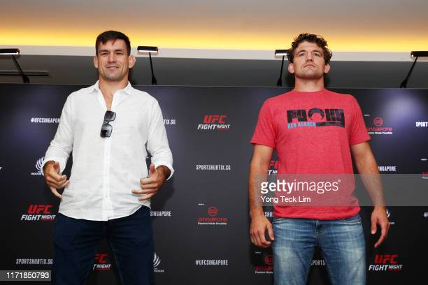 Demian Maia and Ben Askren pose for photos after a UFC Singapore onsale press conference at the Mandarin Oriental Hotel on September 03 2019 in...