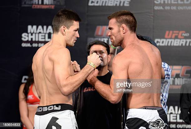 Demian Maia and Jake Shields face off during the UFC Fight Night: Maia v Shields weigh-in at the Ginasio Jose Correa on October 8, 2013 in Barueri,...