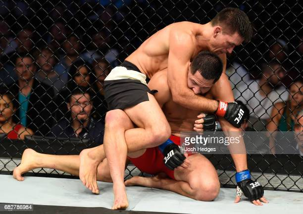 Demian Maia attempts to submit Jorge Masvidal in their welterweight fight during the UFC 211 event at the American Airlines Center on May 13 2017 in...