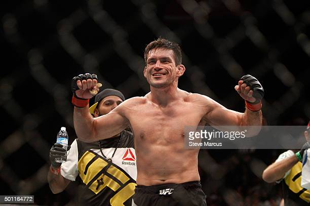Demian Maia celebrates after three rounds against Gunnar Nelson in a welterweight fight during UFC 194 on December 12 2015 in Las Vegas Nevada