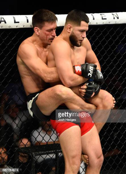 Demian Maia controls the body of Jorge Masvidal in their welterweight fight during the UFC 211 event at the American Airlines Center on May 13 2017...